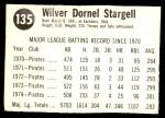 1975 Hostess #135  Willie Stargell  Back Thumbnail