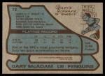 1979 Topps #72  Gary McAdam  Back Thumbnail