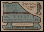 1979 Topps #40  Borje Salming  Back Thumbnail