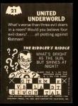 1966 Topps Batman -  Riddler Back #21   United Underworld Back Thumbnail