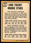 1968 Topps #113 A  -  Tom Matchick / Daryl Patterson Tigers Rookies Back Thumbnail
