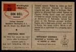 1954 Bowman #89  Don Boll  Back Thumbnail