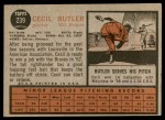 1962 Topps #239  Cecil Butler  Back Thumbnail