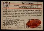 1953 Bowman #62  Ray Renfro  Back Thumbnail