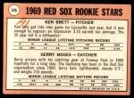 1969 Topps #476 YN  -  Ken Brett / Gerry Moses Red Sox Rookies Back Thumbnail