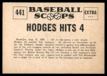 1961 Nu-Card Scoops #441   -   Gil Hodges  Hits 4 Home Runs in Nite Game Back Thumbnail