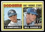 1967 Topps #12   -  Bill Singer / Jim Campanis Dodgers Rookies Front Thumbnail