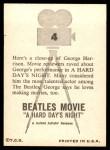 1964 Topps Beatles Movie #4   George Harrison Back Thumbnail