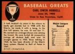 1961 Fleer #45  Carl Hubbell  Back Thumbnail