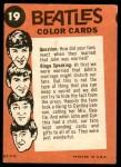 1964 Topps Beatles Color #19   John interview Back Thumbnail