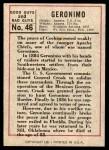 1966 Leaf Good Guys Bad Guys #46  Geronimo  Back Thumbnail