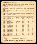 1964 Kahn's  Jerry Lynch  Back Thumbnail