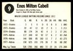 1978 Hostess #9  Enos Cabell  Back Thumbnail
