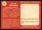 1958 Topps CFL #44  Oscar Kruger  Back Thumbnail