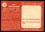 1958 Topps CFL #13  Don Bingham  Back Thumbnail