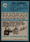 1964 Philadelphia #40  Dick Schafrath  Back Thumbnail