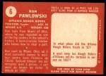 1958 Topps CFL #6  Ron Pawlowski  Back Thumbnail