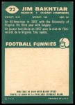 1960 Topps CFL #22  Jim Bakhtiar  Back Thumbnail