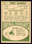 1968 Topps #99  Tommy McDonald  Back Thumbnail