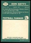 1960 Topps CFL #13  Don Getty  Back Thumbnail