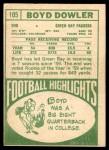 1968 Topps #105  Boyd Dowler  Back Thumbnail