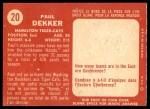 1958 Topps CFL #20  Paul Dekker  Back Thumbnail