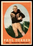 1958 Topps CFL #20  Paul Dekker  Front Thumbnail