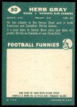 1960 Topps CFL #80  Herb Gray  Back Thumbnail