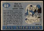 1955 Topps #60  Dan Tiger Hill  Back Thumbnail