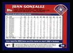 2003 Topps #38  Juan Gonzalez  Back Thumbnail