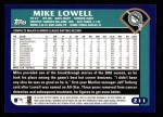 2003 Topps #211  Mike Lowell  Back Thumbnail