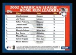 2003 Topps #339   -  Alex Rodriguez / Jim Thome / Rafael Palmeiro AL HR Leaders Back Thumbnail