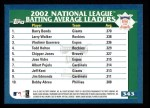 2003 Topps #343   -  Larry Walker / Vladimir Guerrero / Todd Helton NL Batting Leaders Back Thumbnail