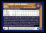 2003 Topps #383  Luis Vizcaino  Back Thumbnail