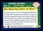 2003 Topps #713   -  Barry Bonds All-Star Back Thumbnail