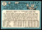 1965 Topps #167  Bill Wakefield  Back Thumbnail