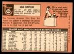 1969 Topps #608  Dick Simpson  Back Thumbnail