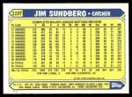 1987 Topps Traded #119 T Jim Sundberg  Back Thumbnail