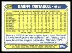 1987 Topps Traded #120 T Danny Tartabull  Back Thumbnail