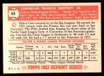 1952 Topps REPRINT #44  Con Dempsey  Back Thumbnail