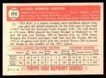1952 Topps REPRINT #175  Billy Martin  Back Thumbnail