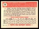 1952 Topps REPRINT #198  Phil Haugstad  Back Thumbnail