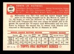 1952 Topps REPRINT #407  Eddie Mathews  Back Thumbnail