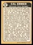 1968 Topps #206  Cal Ermer  Back Thumbnail