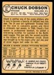 1968 Topps #62 A Chuck Dobson  Back Thumbnail