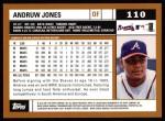 2002 Topps #110  Andruw Jones  Back Thumbnail