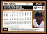 2002 Topps #243  Torii Hunter  Back Thumbnail