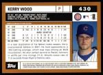 2002 Topps #430  Kerry Wood  Back Thumbnail
