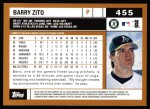 2002 Topps #455  Barry Zito  Back Thumbnail