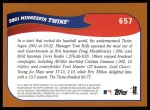 2002 Topps #657   Minnesota Back Thumbnail